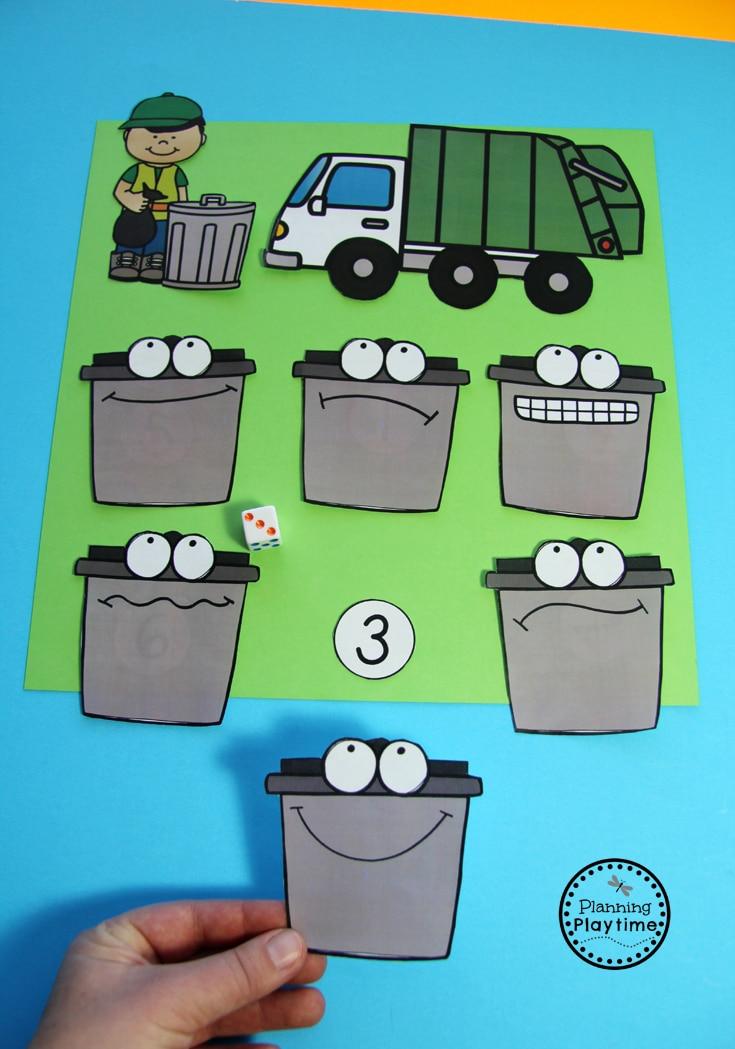 Community Helpers Trash Collector - Hidden Number Trash Pick Up.
