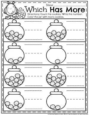 Comparing Numbers worksheets for kindergarten - Which has More cookies
