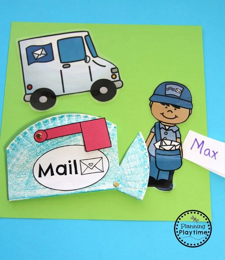 Mail Carrier Community Helpers Craft - Paper Plate Mail Box