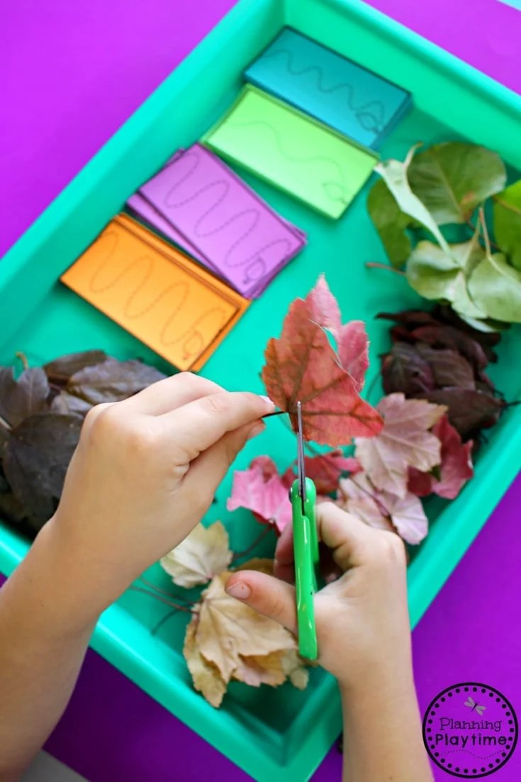 Fall Preschool Cutting Centers - Awesome scissor practice.