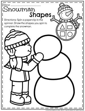 Make a Snowman Shapes Worksheet for Winter.