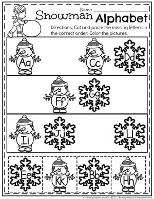 Snowman Alphabet Worksheets for Winter.