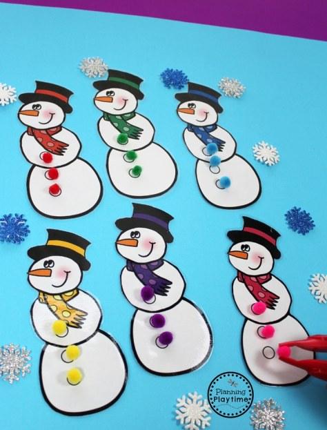 Snowman Color Matching Activity for Preschool.