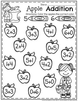 Apple Addition Worksheets for Kindergarten. What is the sum 5 or 6