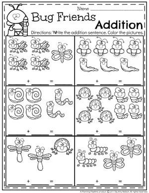 Bug Friends Addition Worksheets for Kindergarten