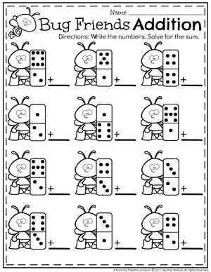Cute Addition Worksheets for Kindergarten.