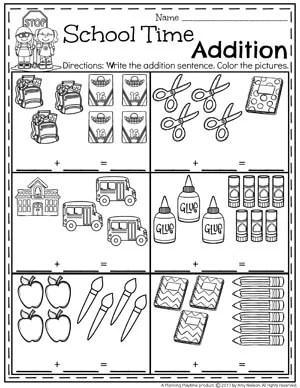 Kindergarten Addition Worksheets - School Time Math Activities.
