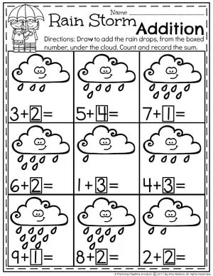 Rain Storm Addition Worksheet for Kindergarten