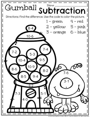 Color by Difference - Fun Subtraction Worksheets for Kindergarten.