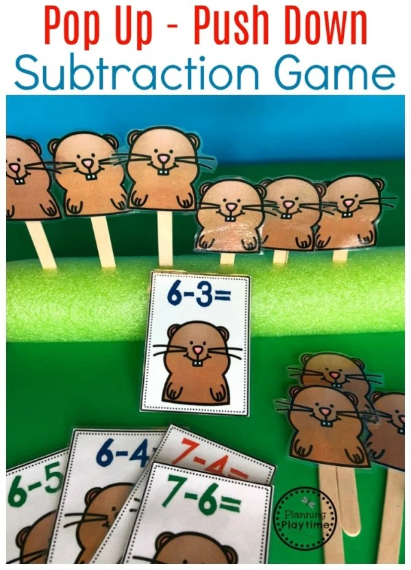 Fun Subtraction Activity for Kids - So fun for Groundhog Day.