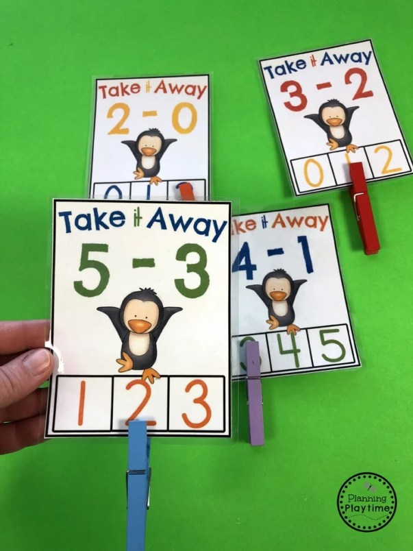 Fun Subtraction Clip Cards for Kindergarten - Take it Away Penguins