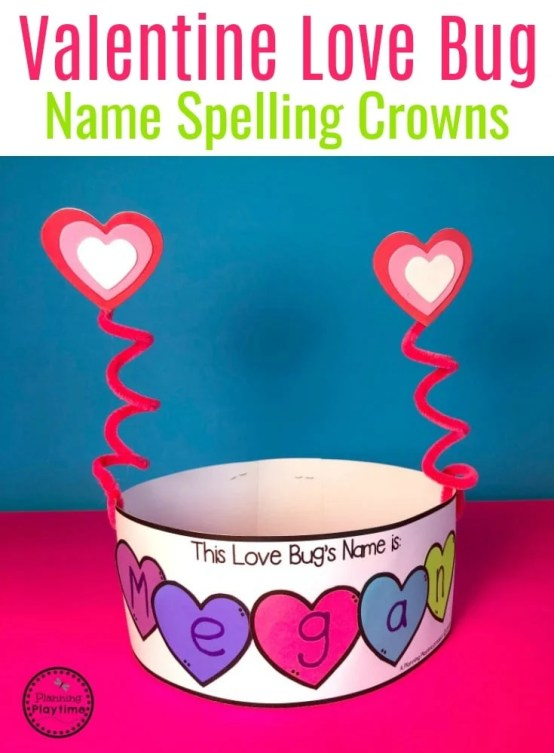 Love Bug Crowns for Valentine's Day - Preschool or Kindergarten #valentinesday #preschoolcraft #preschool