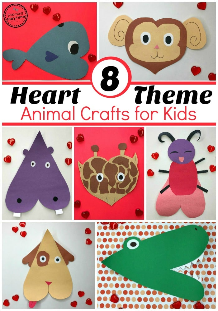 Valentines Crafts for Preschool - Heart Animals #valentinesday #valentinescrafts #craftsforkids #animalcrafts