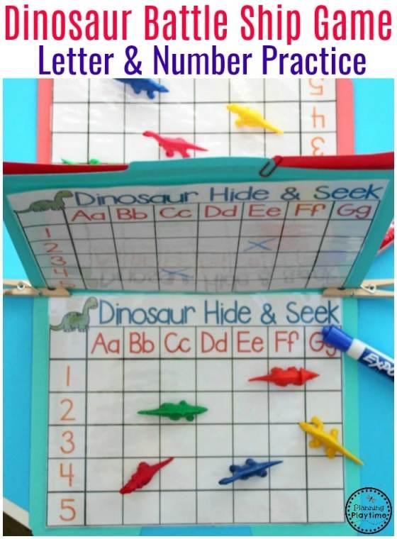 Dinosaur Battleship Letter and Number Recognition Game - Preschool Dinosaur Activities. #preschool #dinosaurtheme #dinosaur #preschoolactivities