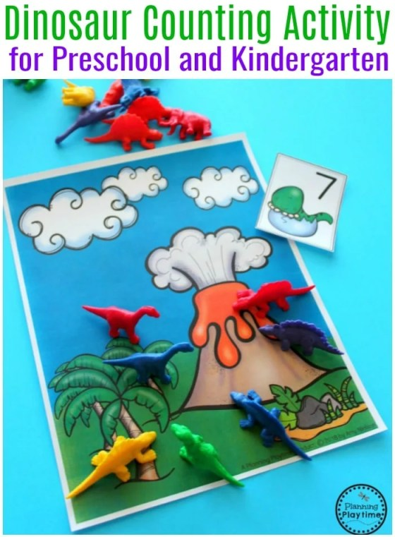 Dinosaur Counting Activity for Preschool - Fun Preschool Dinosaur Theme Games #preschool #dinosaurtheme #dinosaur #preschoolactivities