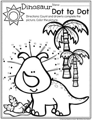 Dinosaur Dot to Dot Coloring Page for Preschool #dottodot #coloringpage #preschool #dinosaurs
