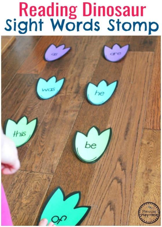 Dinosaur Footprint Sight Words Stomp - Preschool Sight Words Activity. Fun! #preschool #dinosaurtheme #dinosaur #preschoolactivities #sightwords