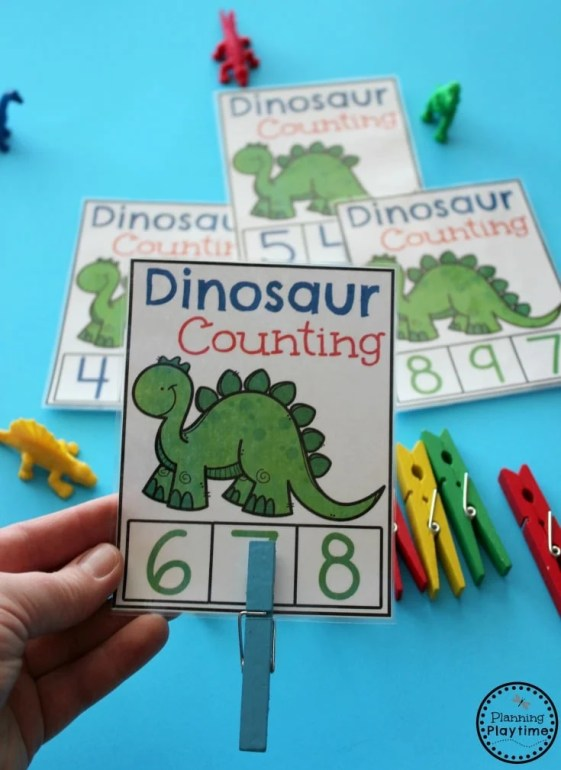 Dinosaur activities and Games for Preschool - Dinosaur Counting Cards