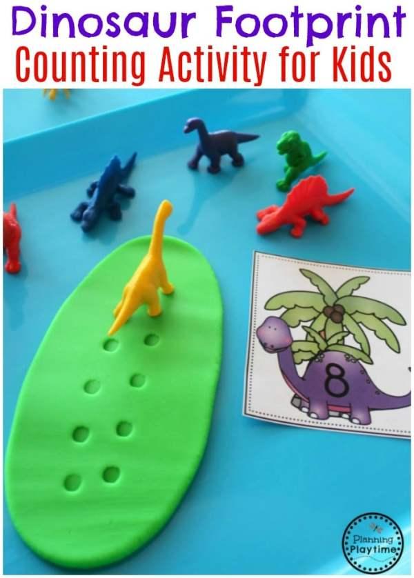 Fun Dinosaur Footprint Counting - Preschool Dinosaur Theme Centers. #preschool #dinosaurtheme #dinosaur #preschoolactivities