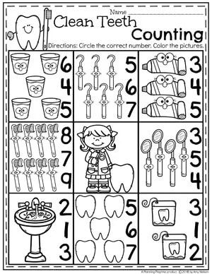 Preschool Dental Unit - Clean Teeth Counting Worksheet.