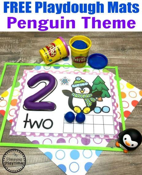 Free Playdough Mats - Penguin Theme Preschool Counting #playdoughmats #counting #preschoolmath #penguins