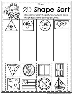 2D Shapes Worksheet for Kindergarten Math #kindergarten #kindergartenmath #shapes #geometry #mathworksheets #shapesworksheets #kindergartenworksheets