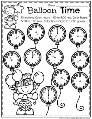 Balloon Time - Time Telling Worksheets for Kindergarten Math #kindergartenmath #kindergarten #kindergartencenters #tellingtime #timeworksheets #tellingtimeworksheets