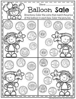 Balloons for Sale - Money Worksheets for kids. Coin recognition. #kindergartenmath #kindergarten #kindergartencenters #coinrecognition #moneyworksheets