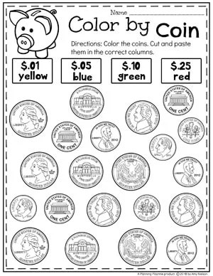 Color by Coin Money Worksheets for Kindergarten #kindergartenmath #kindergarten #kindergartencenters #coinrecognition #moneyworksheets