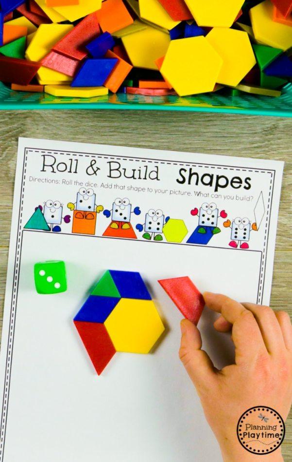 Composing Shapes Activity for Kindergarten #kindergarten #kindergartenmath #shapes #geometry #kindergartenworksheets #mathgames #planningplaytime