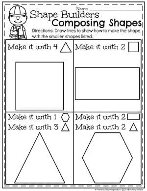 Composing Shapes Worksheet for Kindergarten Math #kindergarten #kindergartenmath #shapes #geometry #mathworksheets #shapesworksheets #kindergartenworksheets
