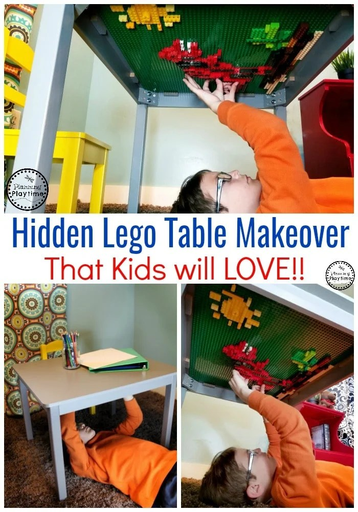 Cool Lego Table ideas for kids. So fun!! #lego #legobaseplates #legomakeover #legoideas #legohacks #legoclassroom #legotable #ad
