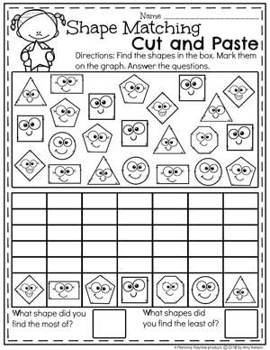 Find and Graph Kindergarten Shapes Worksheet #kindergarten #kindergartenmath #shapes #geometry #mathworksheets #shapesworksheets #kindergartenworksheets