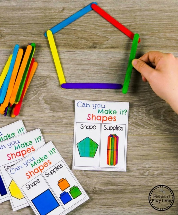 Geometry - Building Shapes Activity for Kindergarten Math #kindergarten #kindergartenmath #shapes #geometry #kindergartenworksheets #mathgames #planningplaytime