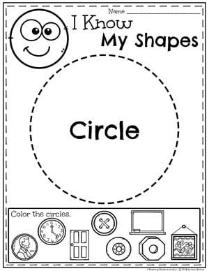 Kindergarten Shapes Worksheets - Circles #kindergarten #kindergartenmath #shapes #geometry #mathworksheets #shapesworksheets #kindergartenworksheets