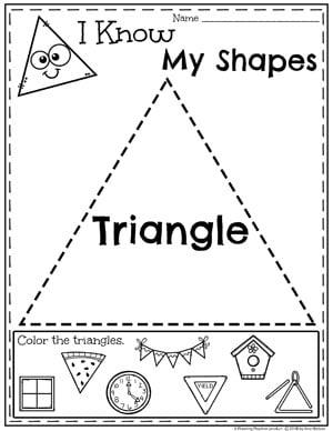 Kindergarten Shapes Worksheets - Triangles #kindergarten #kindergartenmath #shapes #geometry #mathworksheets #shapesworksheets #kindergartenworksheets