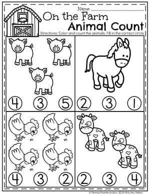 Preschool Farm Worksheets - Farm Animal Counting for Spring #preschool #farmtheme #springpreschool #preschoolworksheets #preschoolfun #springworksheets #countingworksheets