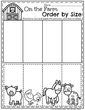Preschool Farm Worksheets - Sort by size #preschool #farmtheme #springpreschool #preschoolworksheets #preschoolfun #springworksheets
