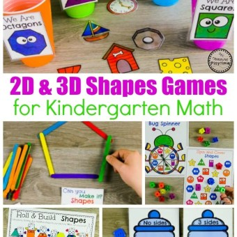Shapes Worksheets and Games for Kindergarten Math #kindergarten #kindergartenmath #shapes #geometry #kindergartenworksheets #mathgames #planningplaytime