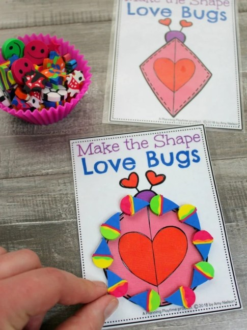 Making Shapes Game with Mini Erasers#preschool #minierasers #kindergarten #funlearning #planningplaytime #shapes