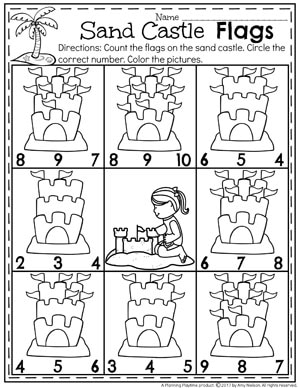 Summer Preschool Worksheets - Sand Castle Counting #preschool #summerpreschool #preschoolprintables #preschoolworksheets #planningplaytime #counting