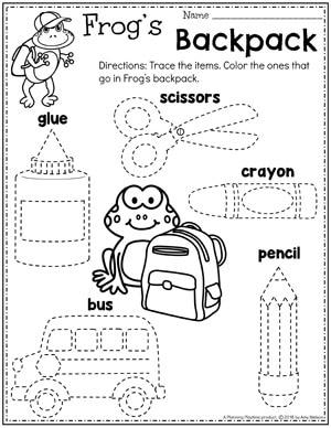Back to School Preschool Tracing Worksheets #backtoschool #preschool #preschoolworksheets #planningplaytime