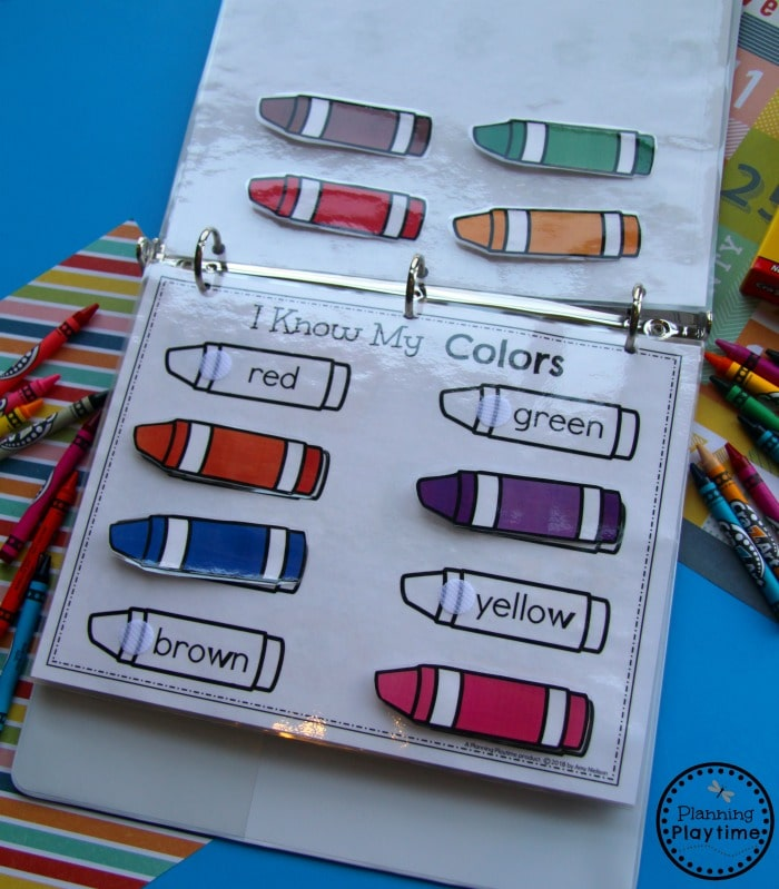Binder activity page with colored paper crayons to attach ot matching outlines with the color word.