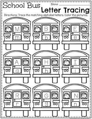School bus with alphabet letters in the windows to trace.