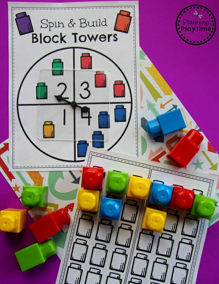 Lego Spinner printable with mega block legos covering a chart