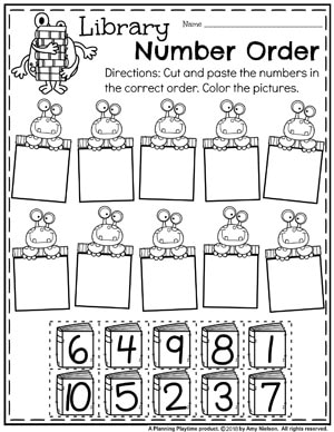 Monsters holding boxes. Cut and paste number boxes to place in correct number order.