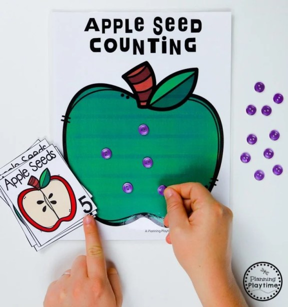 Apple Seed Counting Games for Preschool #preschool #preschoolworksheets #appletheme #appleworksheets #planningplaytime