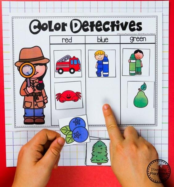 Color Detectives Color Sorting Activity for Preschool #preschool #colorrecognition #planningplaytime #colorsorting