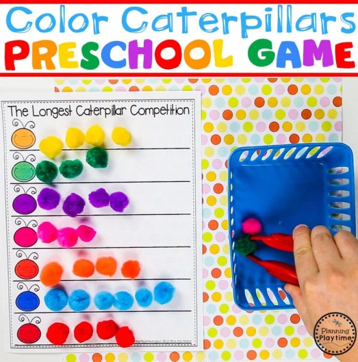 Color Sorting Caterpillars Game for Preschool #preschool #colorrecognition #planningplaytime