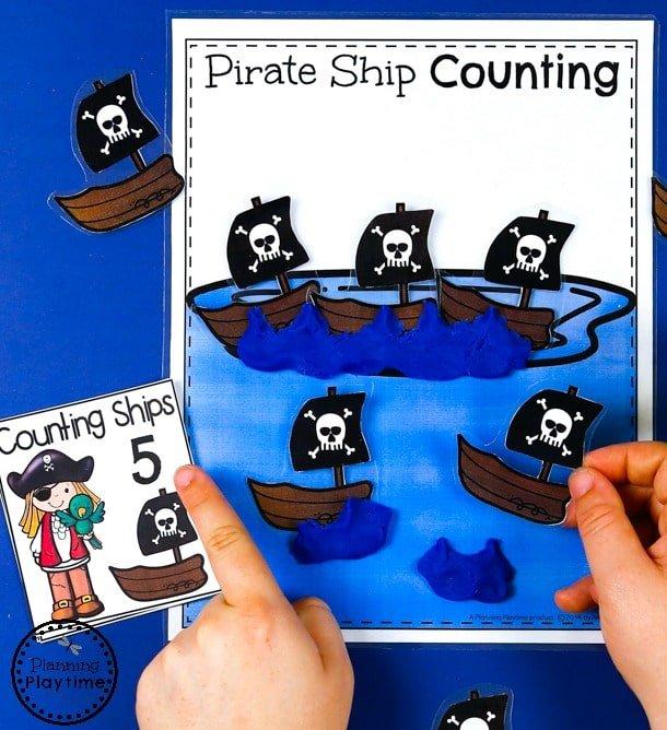 Pirate Ship Counting Activity for Preschool - Preschool Numbers Unit#preschool #planningplaytime #preschoolmath